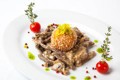 Beef with mushrooms. On table Royalty Free Stock Photos