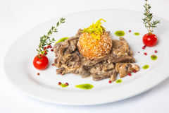 Beef with mushrooms. On table Royalty Free Stock Photography