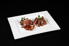 Beef with mushrooms in white plate Royalty Free Stock Image