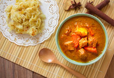 Beef mussaman curry eat with roti on wood Stock Images
