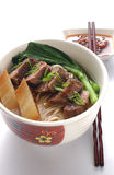 Beef Noodle. Chinese beef noodle with spacy sauce Royalty Free Stock Photo