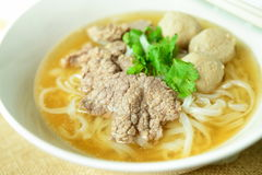 Beef noodle soup, Asian style in thailand Royalty Free Stock Photo