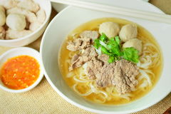 Beef noodle soup, Asian style in thailand Stock Photo