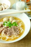 Beef noodle soup, Asian style in thailand Stock Photos