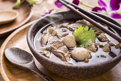 Beef Noodle Soup,Close up of a wooden bowl Royalty Free Stock Photo