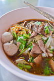 Beef noodle soup of thailand. Appetizing beef noodle soup of thailand Royalty Free Stock Images