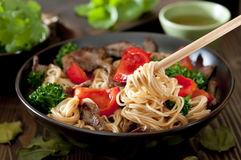 Beef and Noodle Stir Fry Stock Photo