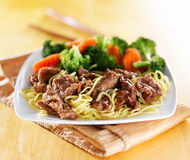 Beef and noodles japanese teriyaki dish Stock Image