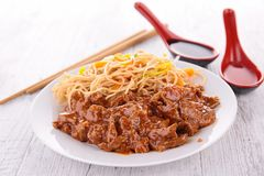Beef and noodles Royalty Free Stock Images