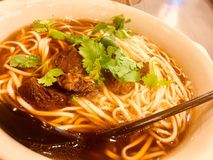 Beef noodles. Sold in restaurant stock image