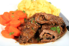 Beef olives dinner Royalty Free Stock Images