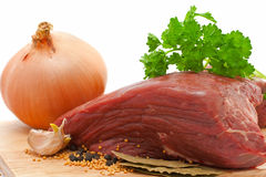 Beef onion and spices. Over white background stock photography