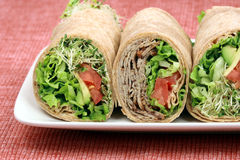 Beef organic sandwich wraps Royalty Free Stock Photos