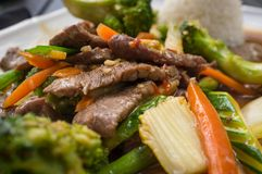 Beef Pad Pak. Thai beef pad pak with rice and mixed vegetables Royalty Free Stock Photos