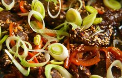 Beef With Paprika, Leek And Sesame Royalty Free Stock Photography