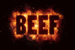 Beef Party text on fire flames explosion Stock Photo