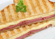 Beef Pastrami & Cheese Toasted Sandwich Royalty Free Stock Image