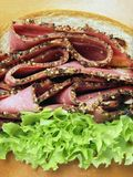 Beef pastrami sandwich. Delicious beef pastrami sandwich closeup Stock Images