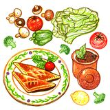 Beef Pastry and Vegetable Marker Doodle Illustration. For any purpose such as food book cover and illustration, wallpaper, home decor, print on poster, apron Royalty Free Illustration