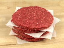 Beef Patties. Raw hamburger patties on a kitchen bench Royalty Free Stock Image