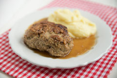 Beef patties with mashed potatoes Stock Image