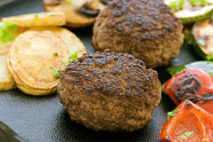 Beef Patty with Vegetable Royalty Free Stock Photos