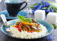 Beef with peppers and rice Royalty Free Stock Photography