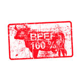 Beef 100 per cent - red rubber dirty grungy stamp in rectangular. Vector illustration Stock Images