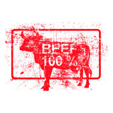 Beef 100 per cent - red rubber grungy stamp in rectangular. Beef 100 per cent - red rubber grungy stamp in rectangular with dirty background vector Stock Images