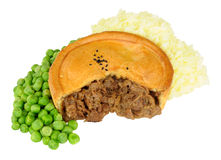Beef Pie With Mashed Potato And Peas Stock Image