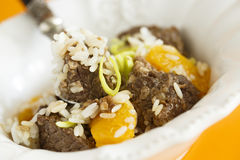 Beef pilaf with orange Stock Image