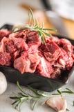 beef Pimienta y romero cortados crudos de la sal de cebolla del ajo de la carne de la carne de vaca fotografía de archivo