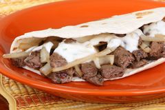 Beef Pita With Sauce Royalty Free Stock Photography