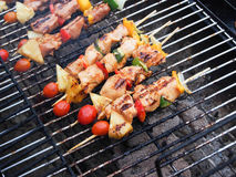 Beef Pork and chicken BBQ on the grill Royalty Free Stock Photo