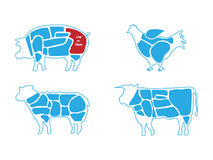 Beef, pork, lamb and chicken meat butchers chart.  Royalty Free Stock Photo