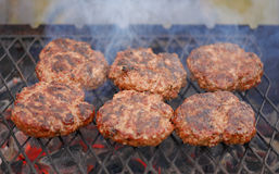 Beef or pork meat barbecue burgers Royalty Free Stock Photography