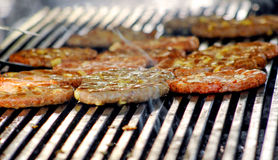 Beef or pork meat with chehese barbecue burgers for hamburger prepared grilled on bbq fire flame grill Stock Photography