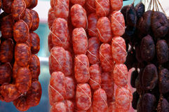 Beef and pork sausages of various Smoking Royalty Free Stock Photo