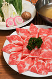 Beef and pork slices stock photography