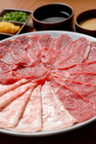 Beef and pork slices for Sukiyaki Royalty Free Stock Images