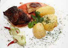 Beef with a potato a dish. Prepared, dinner, food Stock Photo