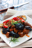 Beef with prunes and vegetables Royalty Free Stock Photo