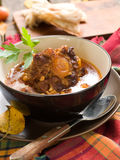 Beef ragout (osso bucco). With carrots, and onions, selective focus Royalty Free Stock Image