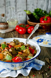 Beef ragout with vegetables. Meat with eggplant, carrots, tomatoes and bell pepper Royalty Free Stock Photos