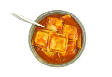 Beef ravioli with fork in a bowl Royalty Free Stock Images