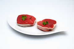 Beef raw meat. A great piece of beef meat on white background Royalty Free Stock Photo