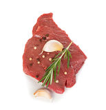 Beef raw meat, steak isolated on white Stock Photos