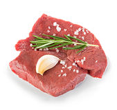 Beef raw meat, steak isolated on white Royalty Free Stock Images