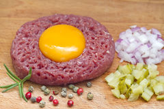 Beef raw tartare with yolk Royalty Free Stock Photos