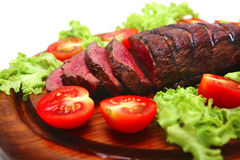 Beef red meat on wooden plate Stock Image